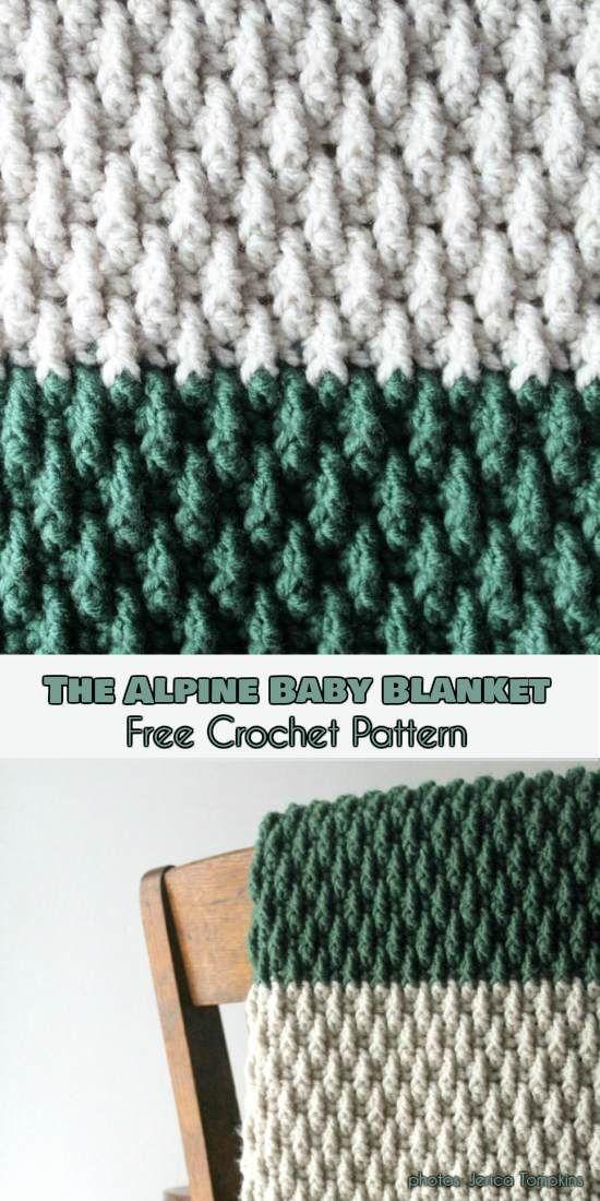 The Alpine Baby Blanket Free Crochet Pattern | Pinterest | Deckchen ...