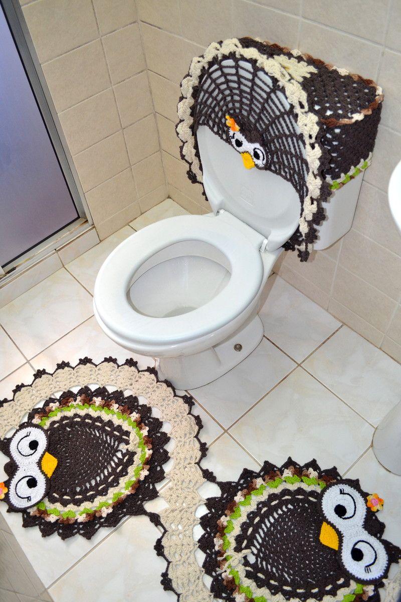 Jogo de banheiro em crochê coruja feliz em espiral. Uma ótima opção para  repaginar a 86de50c847b