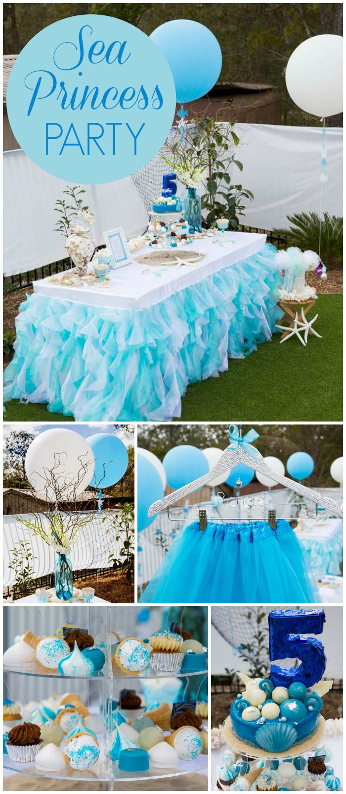 Beach party table decorations sea princess  birthday