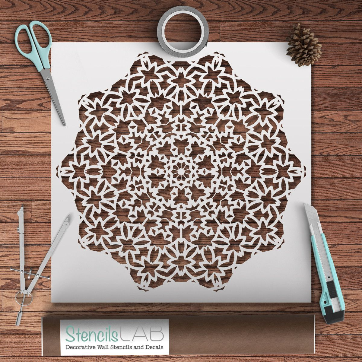 mandala style stencil for diy decor projects geometric pattern