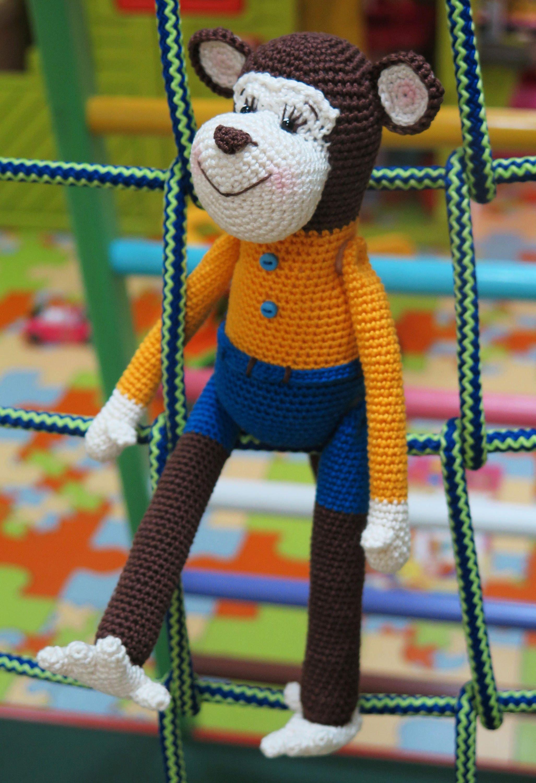 Crochet monkey Stuffed toy Monkey amigurumi Plush animal Monkey toy ...