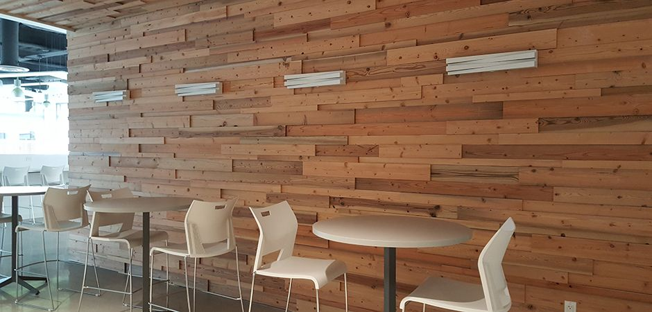 Reclaimed wood from the Transbay Terminal in San Francisco