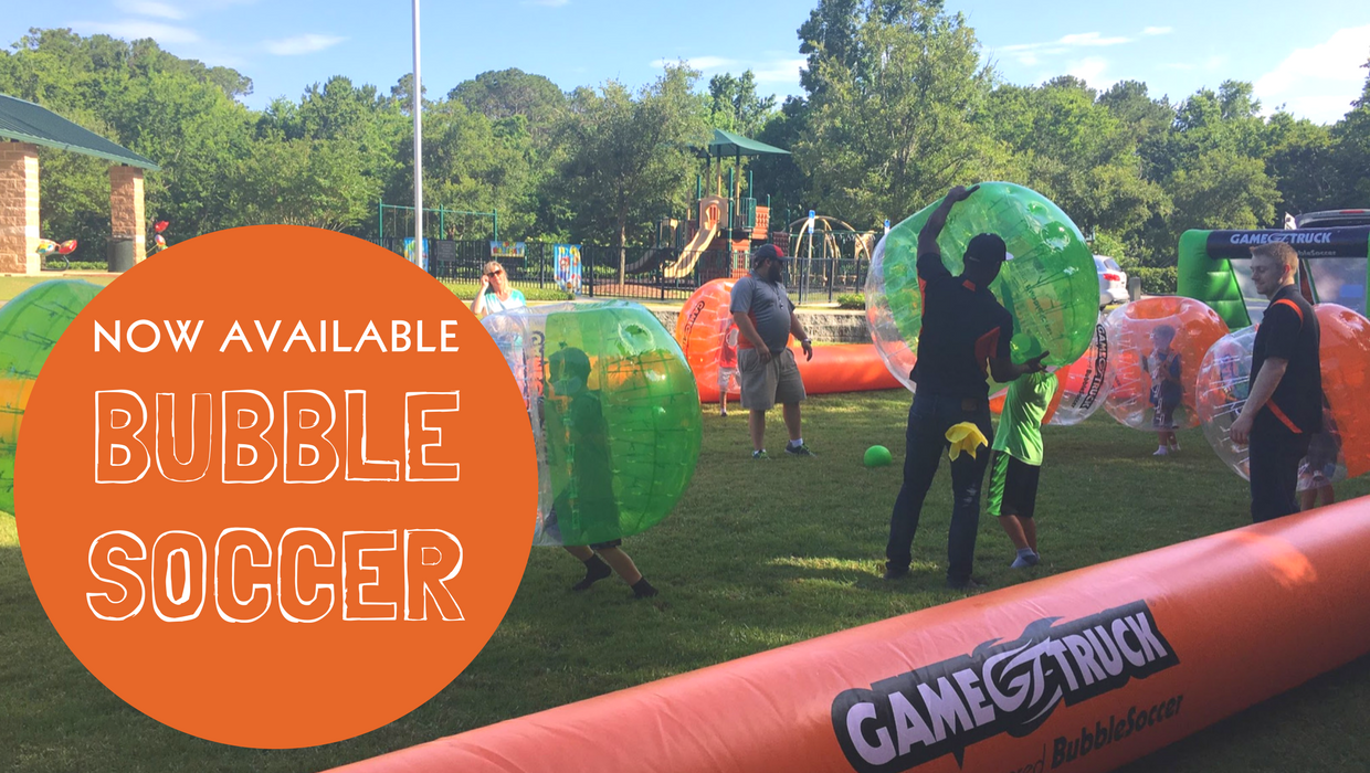 In addition to video games and laser tag gametruck now offers bubble soccer for your