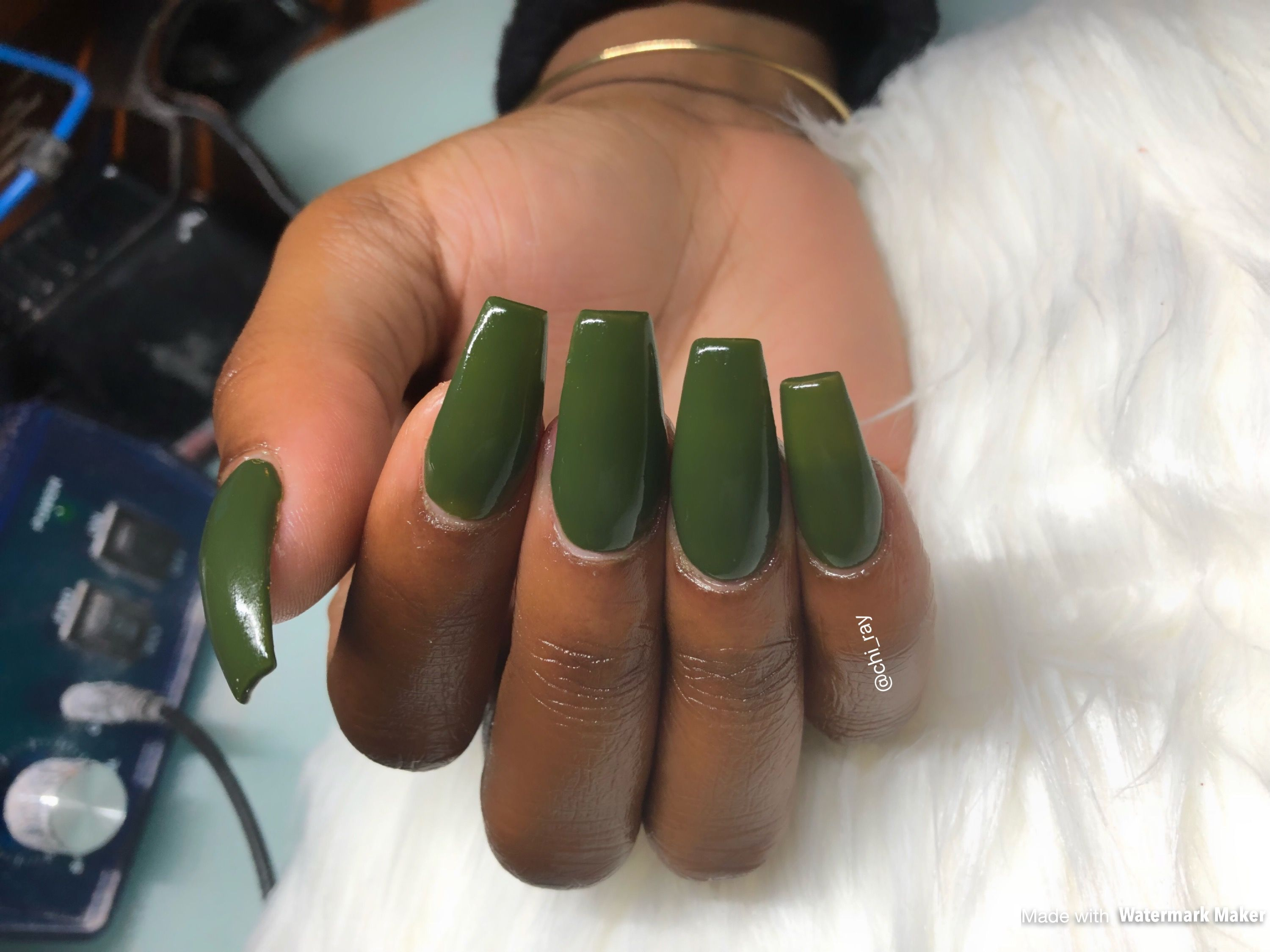Long Nails Tapered Square Coffin Nails Green Nails Olive Forest Green Holidays Glam Paintobsessed Ig Short Square Acrylic Nails Long Square Nails Green Nails