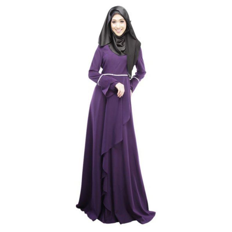 2017 Abaya Jilbab Muslimische Kaftan Lotusblatt Kleider Langarm Maxi ...