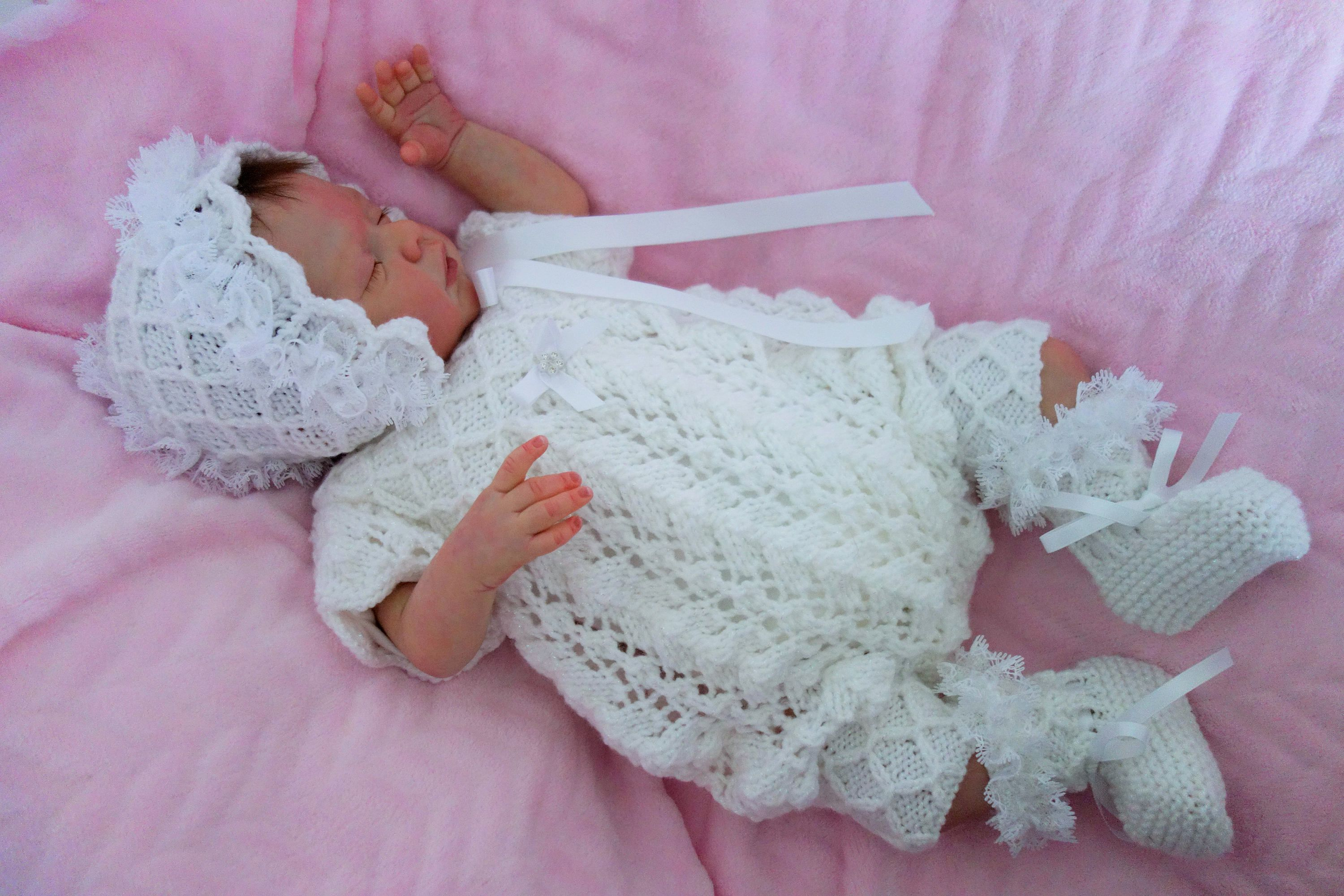99841963c51c hand knitted small new born baby girl s romper suit