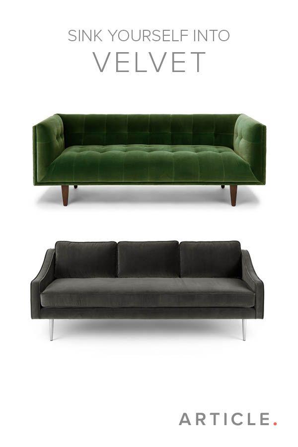 Charming Green Velvet Mid Century Modern Sofa | Cirrus Mid Century Modern Furniture Great Pictures