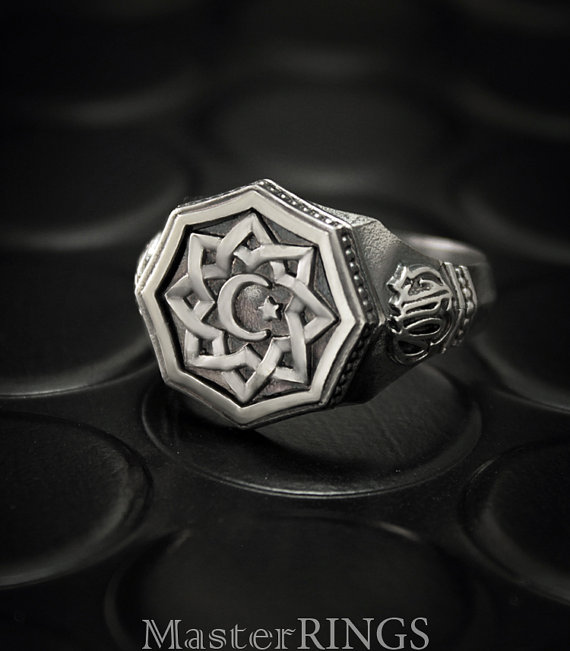 Crescent and star silver ring, Signet ring men, Muslim ...