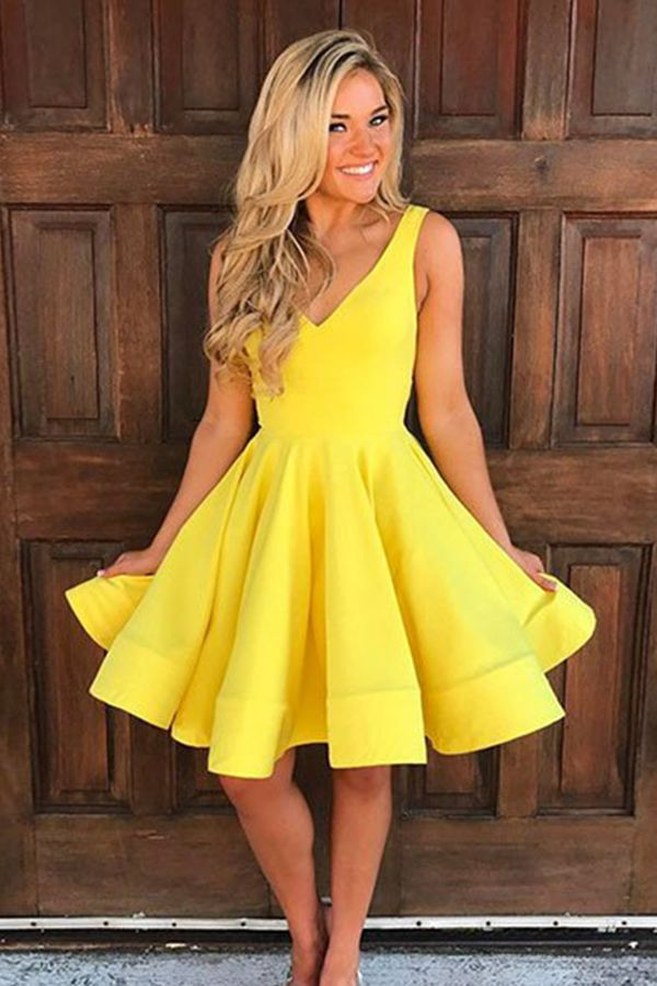 aa66f86d64d A-Line V-Neck Knee-Length Sleeveless Yellow Satin Homecoming Dress ...