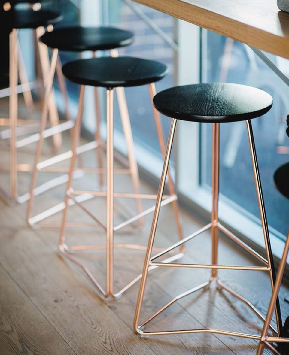 Rose Gold And Black Bar Stools Ff Amp E For Interior Gold