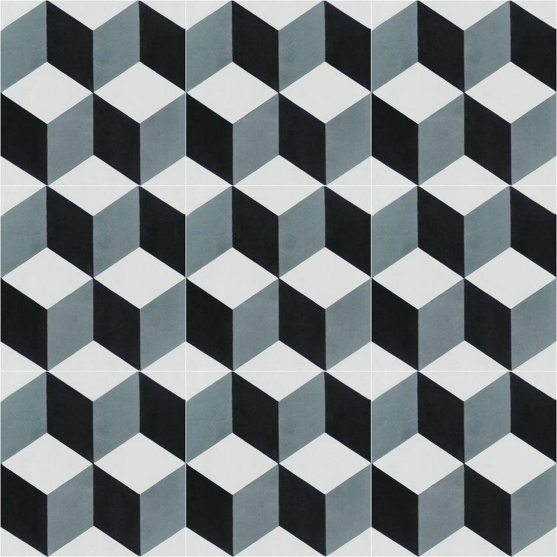 Cubes A Mountain 8 X 8 Cement Field Tile In Blue Gray White Villa Lagoon Tile Glass Tile Crafts Tile Design Pattern