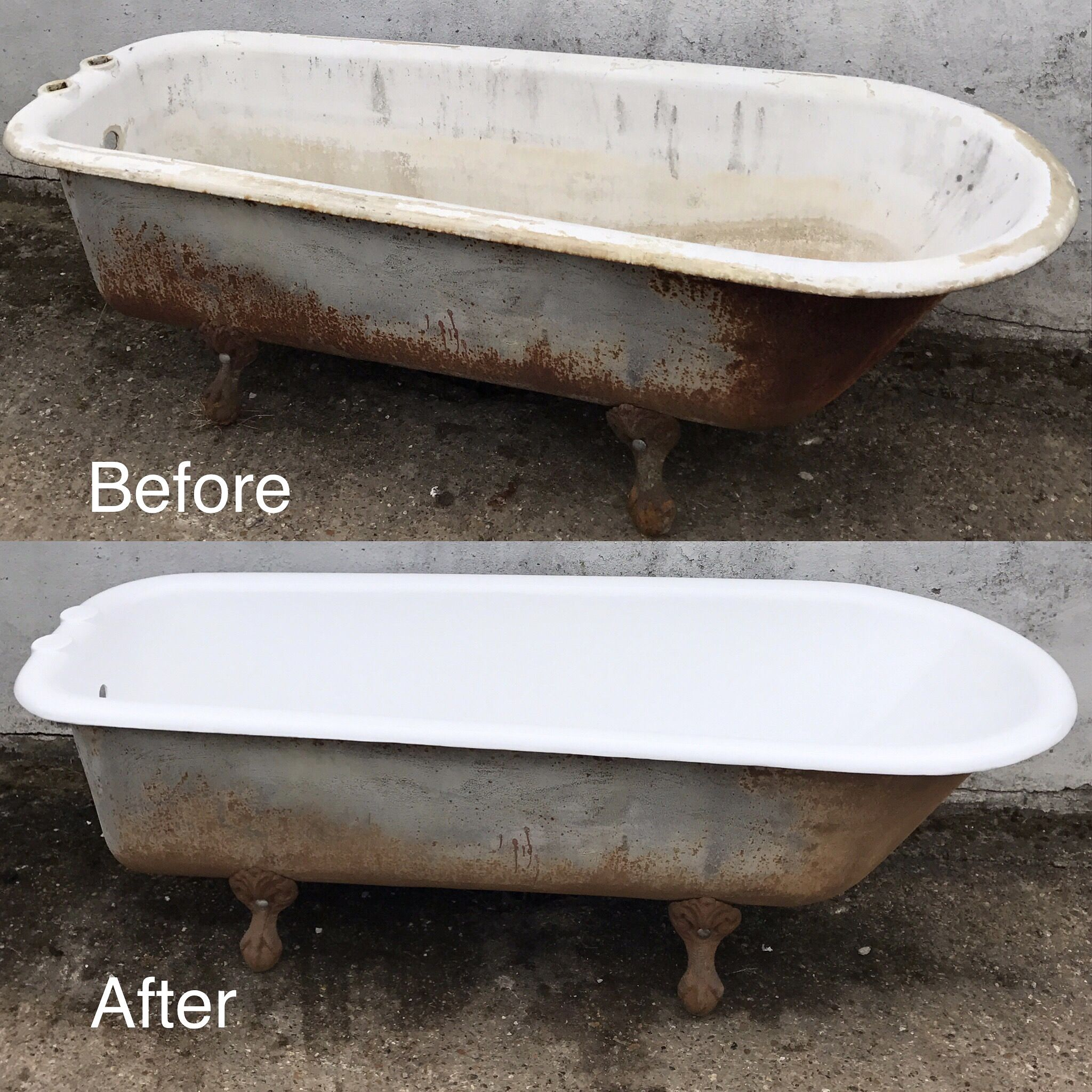 Before And After This Is A Gorgeous Example Of A Genuine 1920 S Antique Cast Iron Bathtub Chosen From Cast Iron Tub Refinish Cast Iron Bathtub Cast Iron Bath