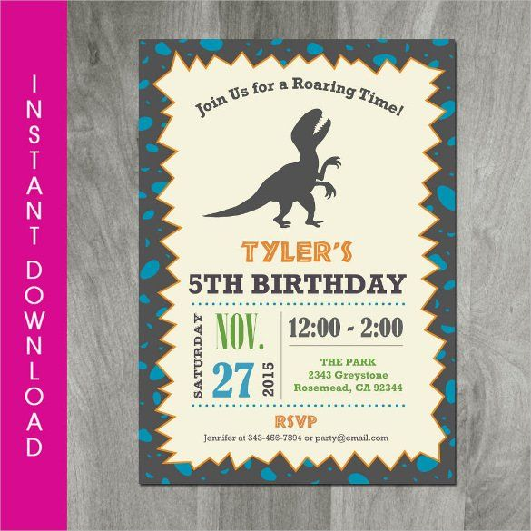 Dinosaur Birthday Invitation Templates - 27+ Free PSD,EPS,JPG - free template for birthday invitation