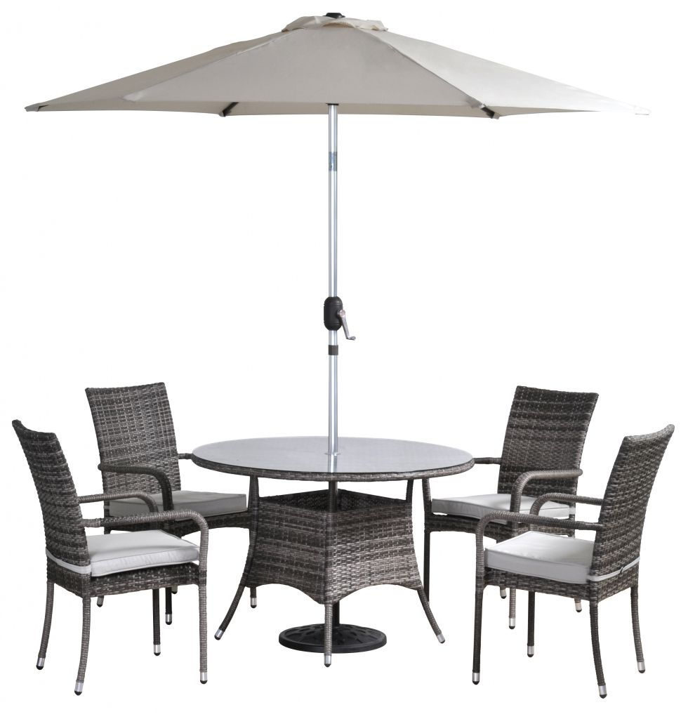 Riviera Rattan 4 Seat Stacking Set 1 Table 4 Chairs Parasol Cushions Furniture Garden Table And Chairs Wicker Dining Tables Rustic Outdoor Furniture