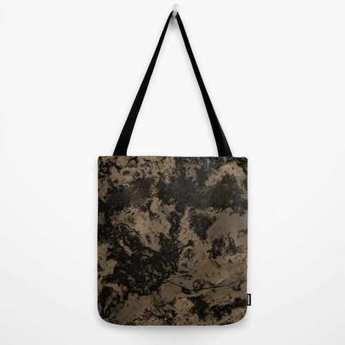 Taupe Marble Tote Bag Brown Galaxy Printed Shoulder Bag by PrtSkin