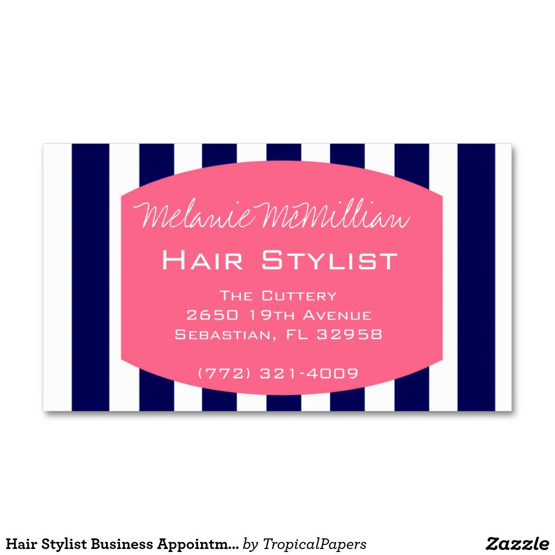 Hair Stylist Business Appointment Card | Navy Pink | Navy pink ...