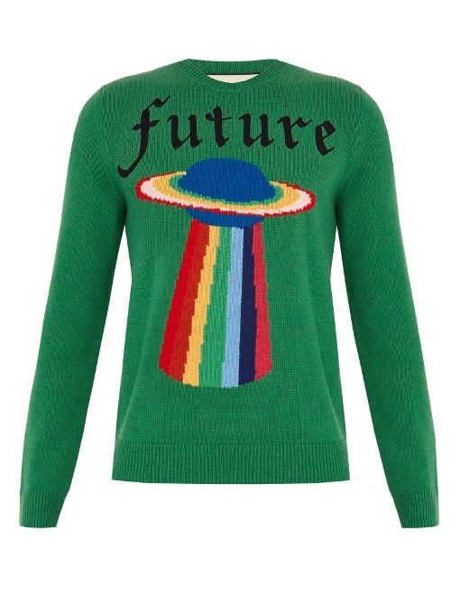 GUCCI Spaceship-Intarsia Wool Sweater.  gucci  cloth  sweater ... 7b8965cfcb4