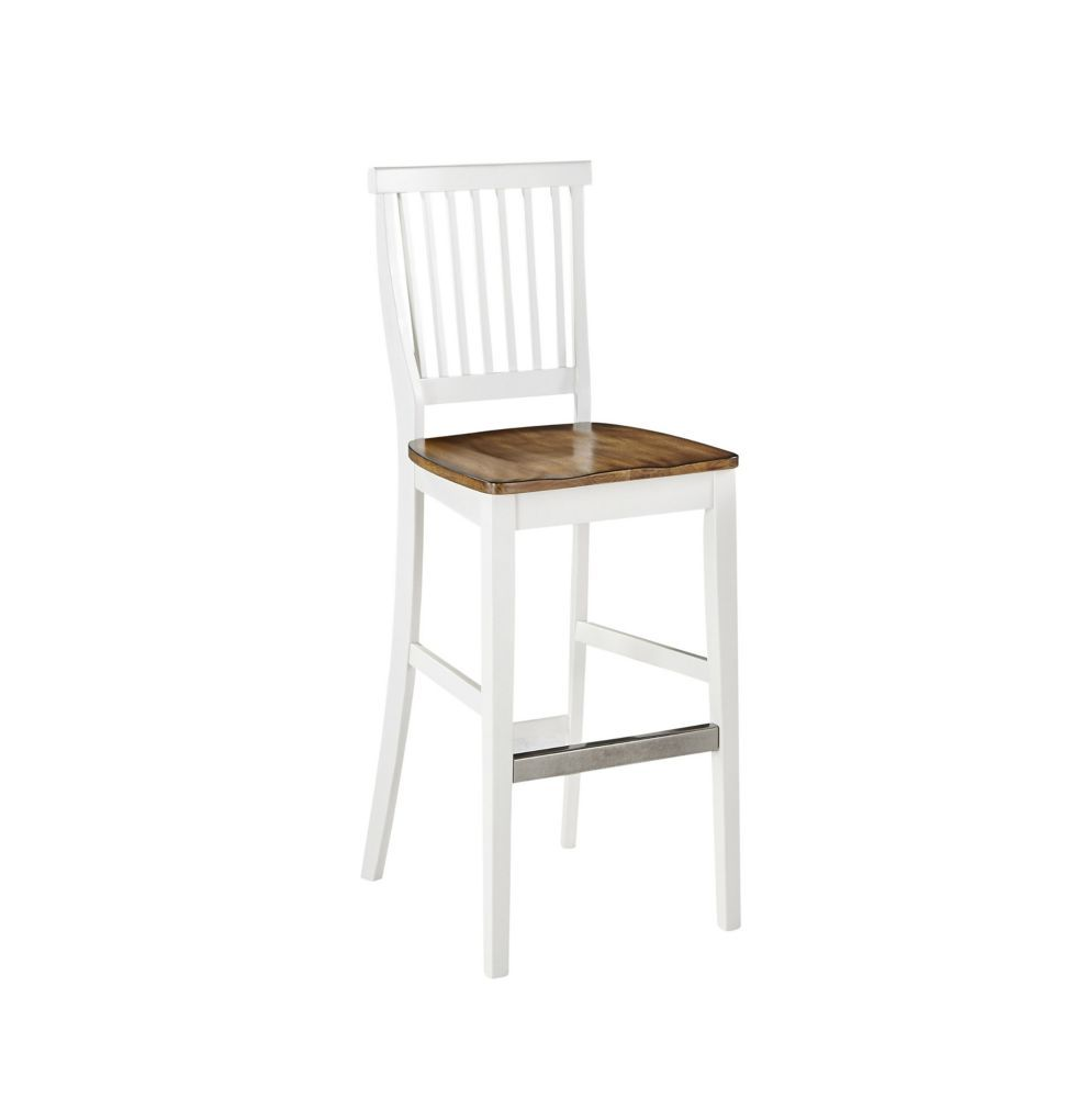 Solid Wood White Traditional Full Back Armless Bar Stool With Oak Solid Wood Seat White Bar Stools Oak Bar Stools Bar Stools