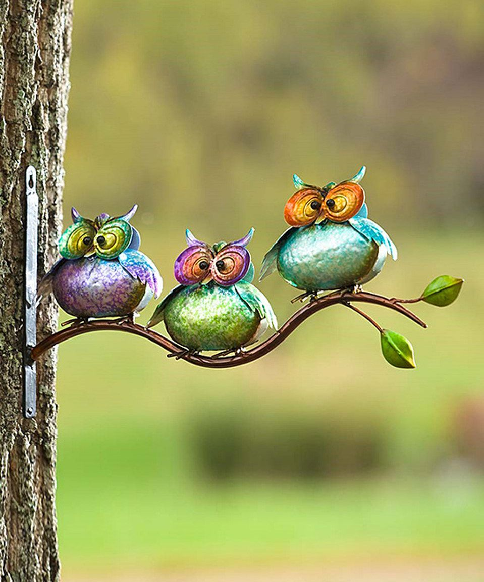 Love this Three Metal Owls on Branch Wall Art by Plow & Hearth on ...