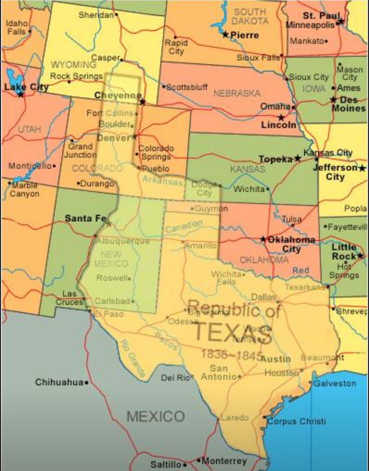 Map showing current USA with The Republic of Texas superimposed ...