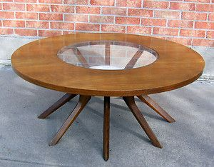 Mid Century Modern Broyhill Brasilia Cathedral Round Coffee Table