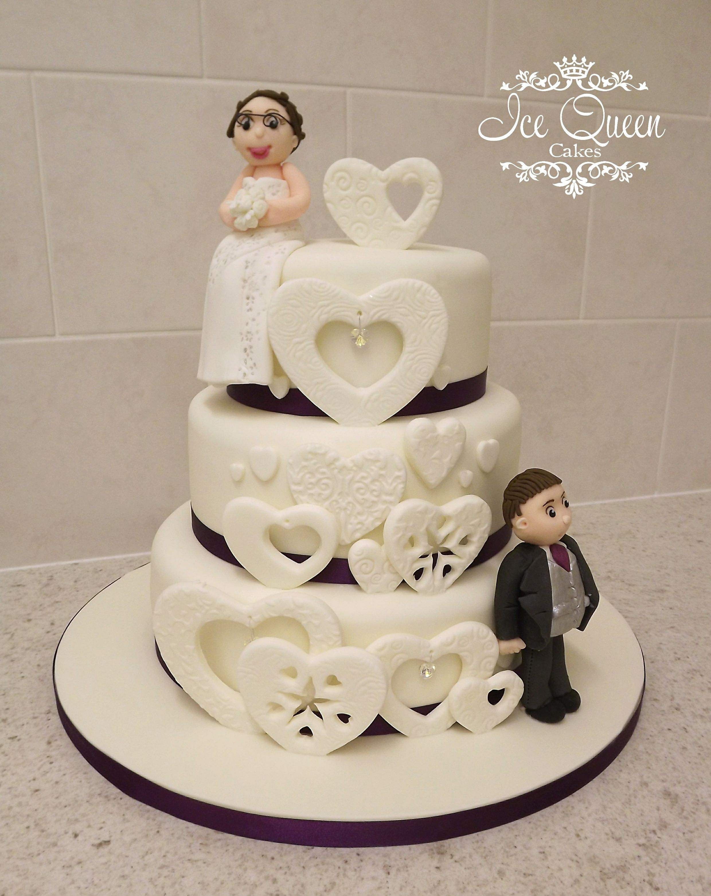 3 Tier Wedding Cake With Mr Mrs Standing Between Hearts Ice - Wedding Cakes Wigan