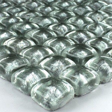 Glass mosaic tiles 23x23x10mm silver rocks | eBay