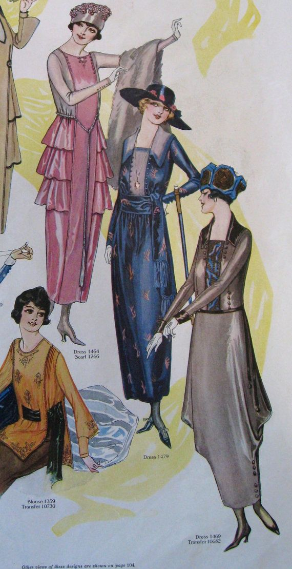 Fashion Ad for Parisian couture dressing 1900s WWI