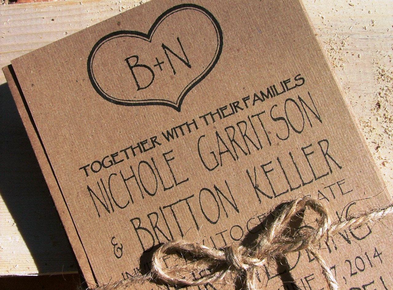 Adorable kraft Wedding Invitations: sweetheart wedding invitations ...
