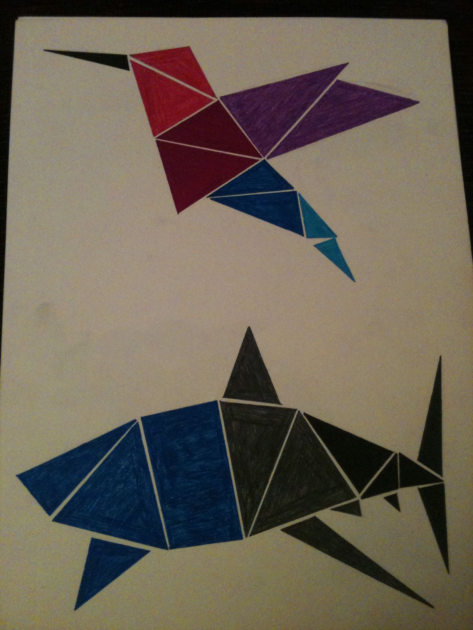 Animales hechos con figuras geom tricas colibr esta for Cuadros con formas geometricas