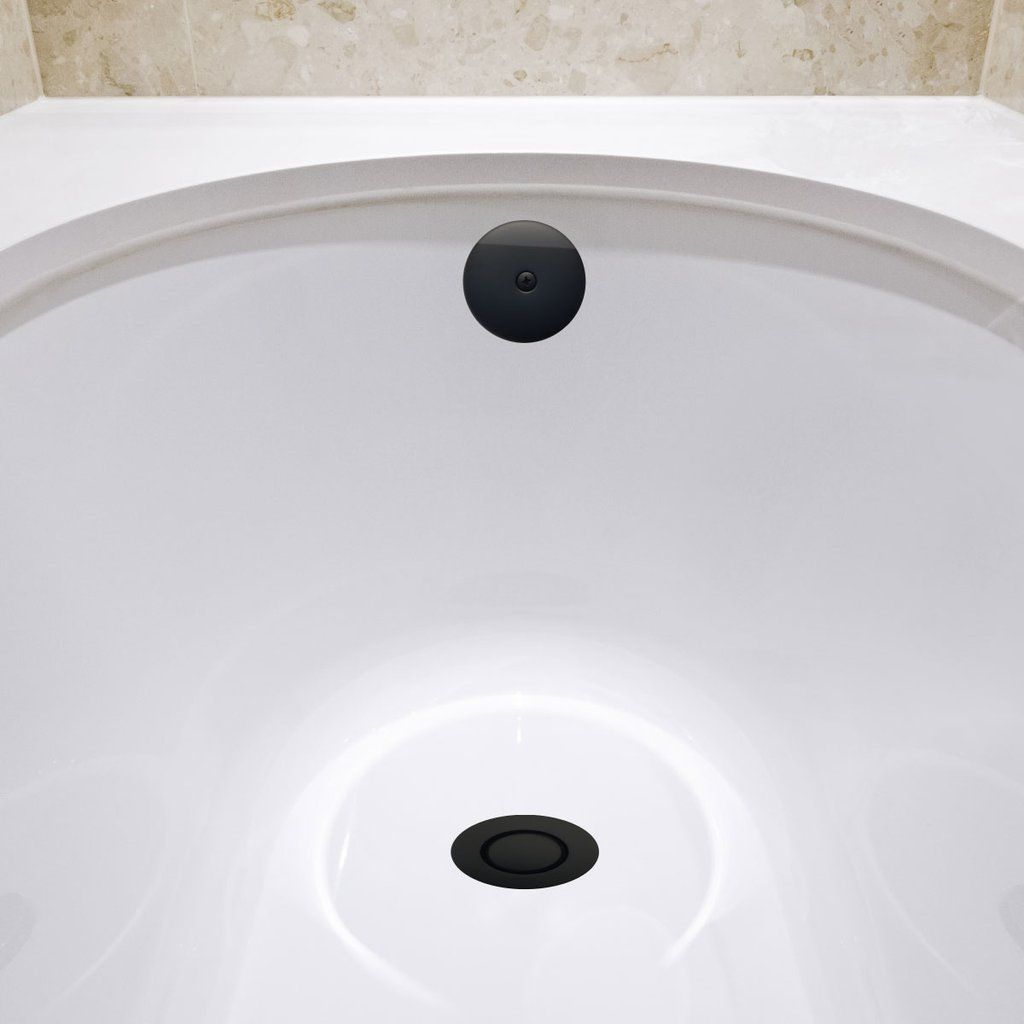 Matte Black Standard Overflow Pop Down Bathtub Drain 1 2 Inch Out Bounty Brware
