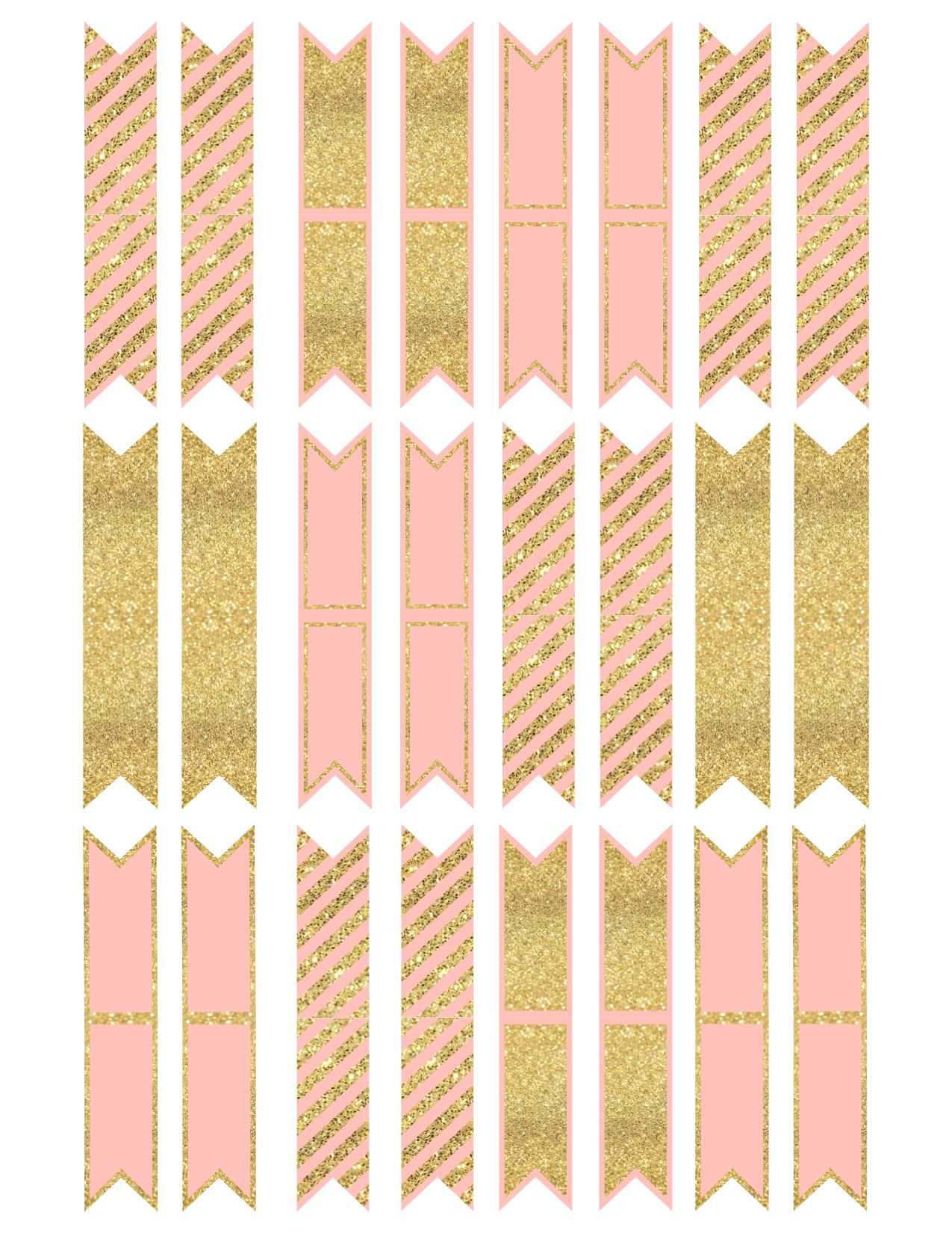 pink and gold cupcake topper flags or bunting | gold cupcakes