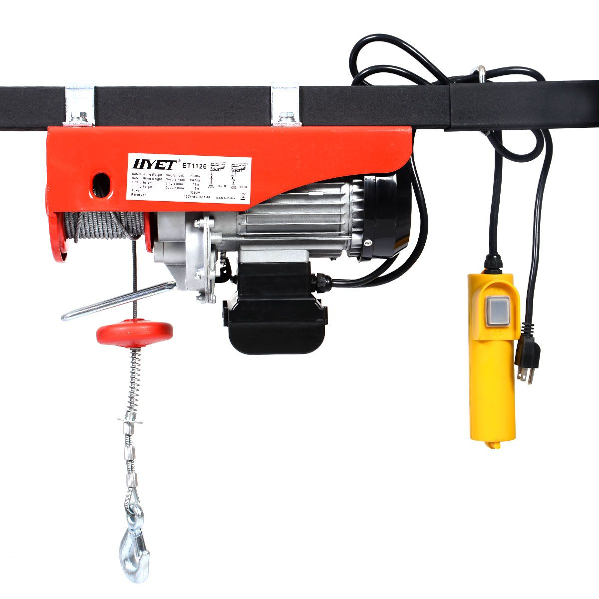 hight resolution of 1320 lbs mini electric wire hoist remote control garage auto shop overhead lift
