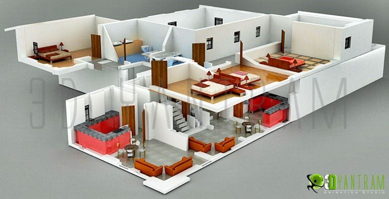 3D Hotel Section View Floor Plan Design Mumbai , India