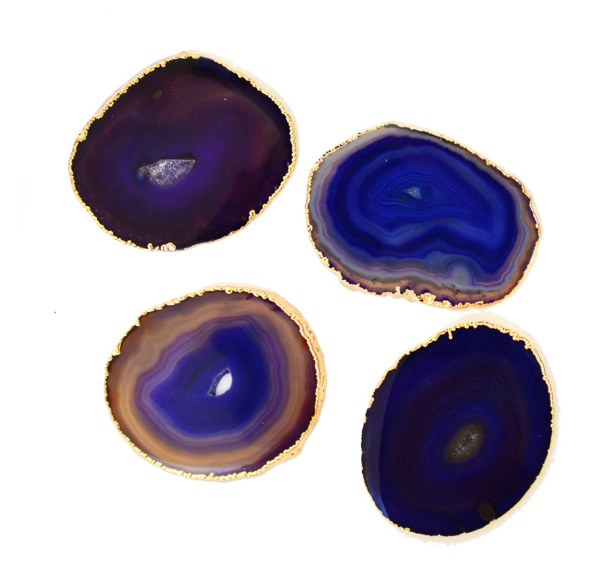 Agate Gilded Coaster Set, Purple