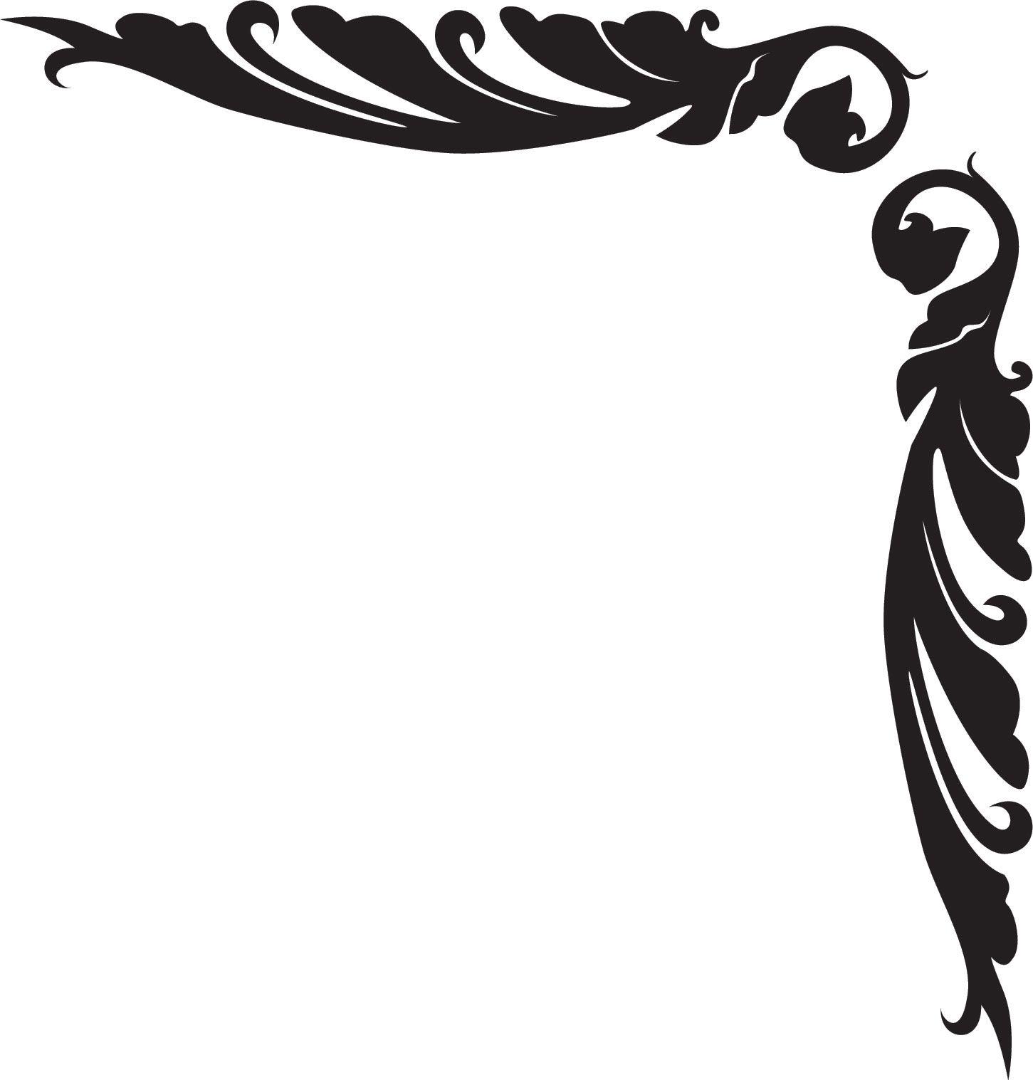 草木のライン線イラスト-白黒・葉・コーナー | borders | pinterest