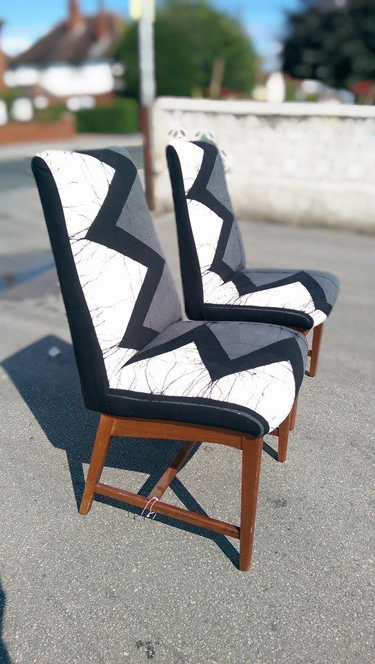 a pair of 1960s chairs reupholstered in this wonderfully graphic zig