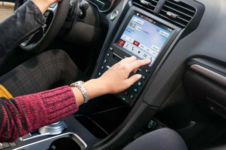 2018 Fusion Titanium interior with SYNC 3 voice-activated