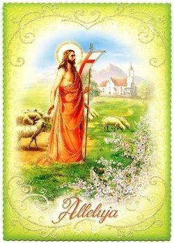 postkarte alleluja ostern jesus der gute hirte 14,7 cm x 10,4 cm | ostern