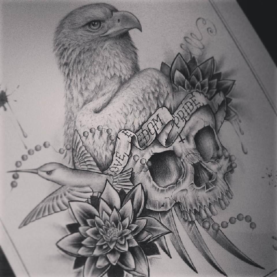 Eagle Skull Ink Design By Edward Miller 1 Eagle Skull Drawings Love Art