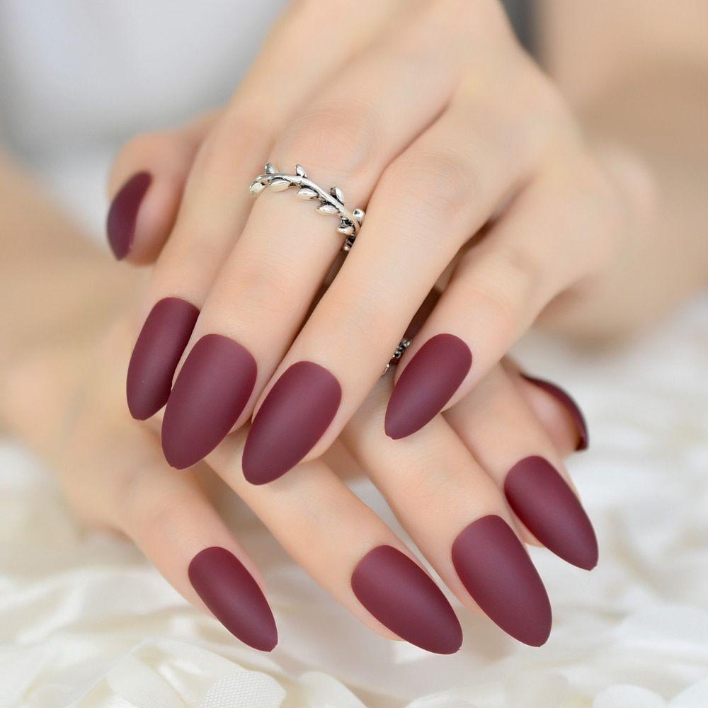 Colour matte presson nails maroon red almond fake nail