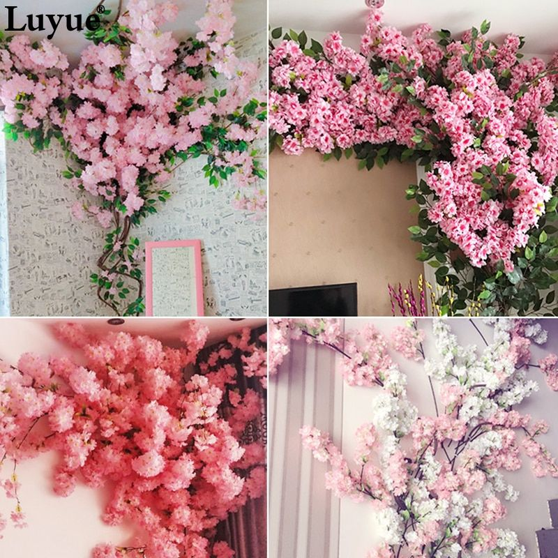 5 Pieces Branch Artificial Flowers Cherry Blossoms Balcony Bedroom With Decorated View Dead Rattan P In 2020 Artificial Flowers Flower Warehouse Silk Flowers Wholesale