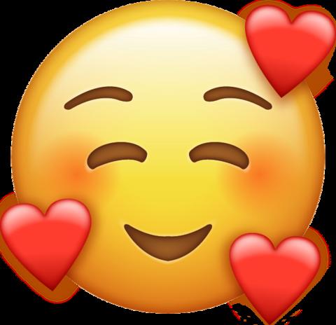smile emoji with hearts