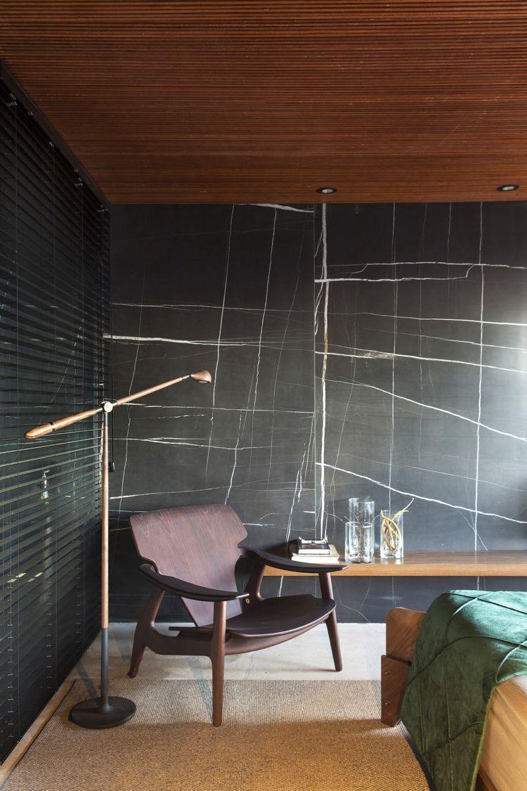 Sichtschutz Innen Jalousien Fenster Schlafzimmer Wandverkleidung Schwarz  Naturstein Optik Leseecke #luxury #house #doors #windows