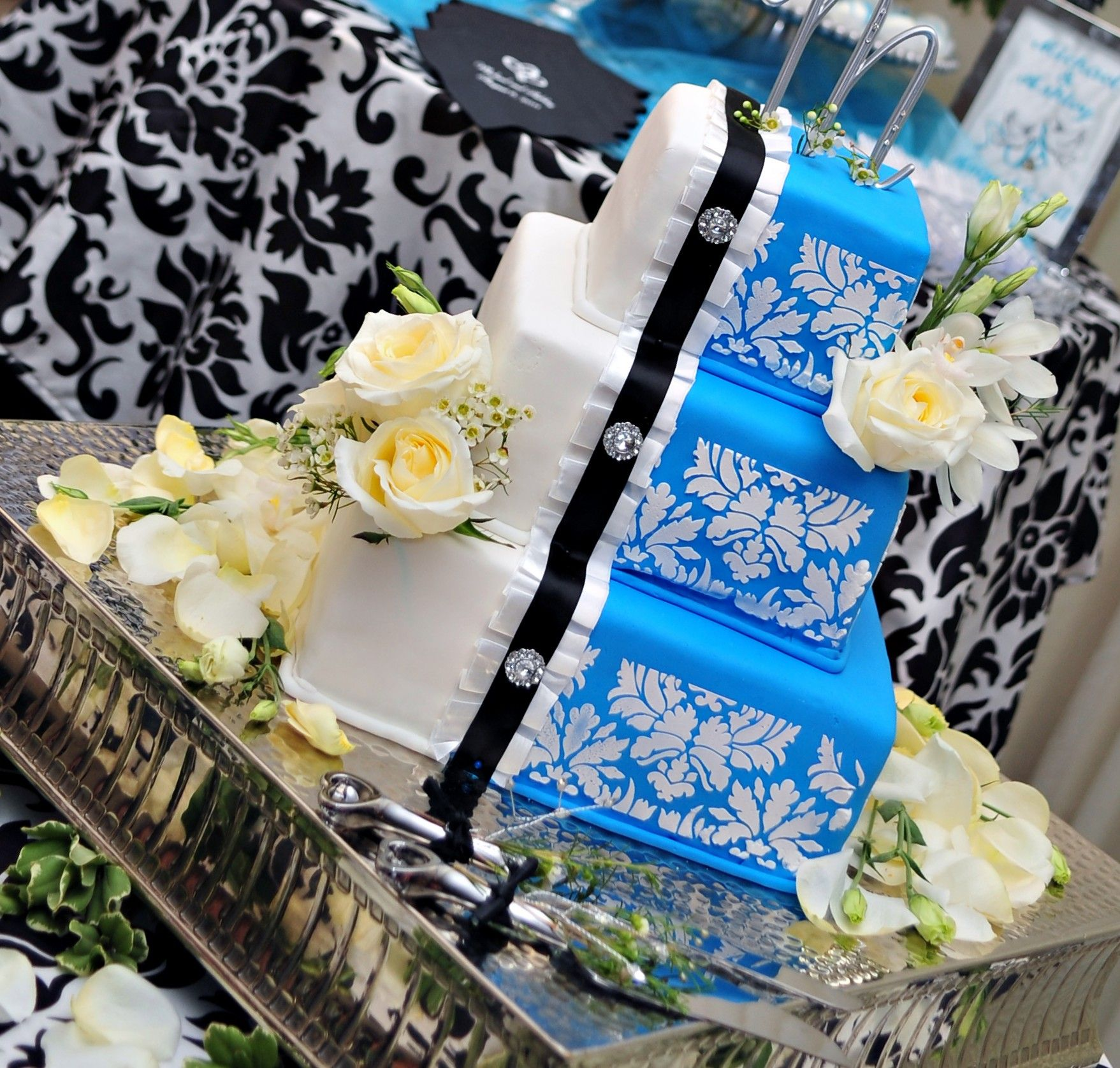tier square turquoise damask with ruffles and buttons wedding
