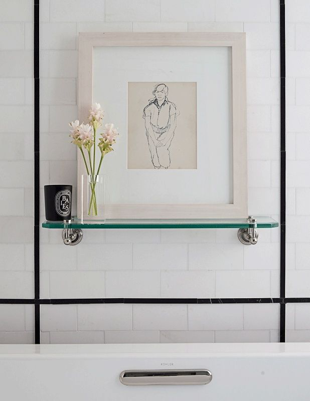 Ann Sacks White Thassos 3 X 6 Marble Field In Honed Finish With Nero Marquina 3 X 6 Field And 9 16 X 8 Marble Box L Ann Sacks Tiles Tiles Bathroom