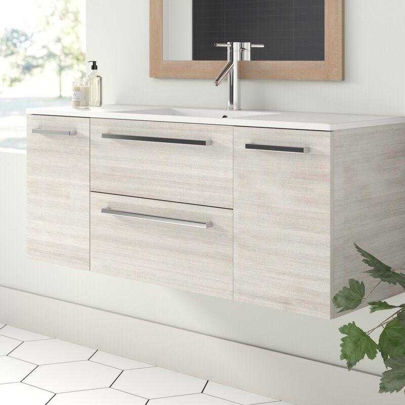 Orren Ellis Mcpeak 48 Wall Mounted Single Bathroom Vanity Set Reviews Wayfair In 2021 Single Bathroom Vanity Bathroom Vanity Contemporary Bathroom Vanity