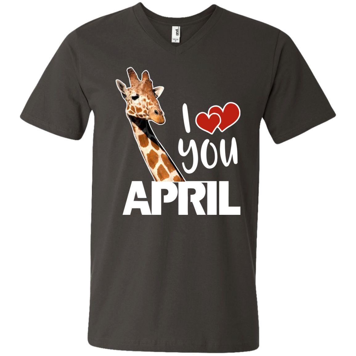 I love you April Giraffe 3 Men's Printed V-Neck T