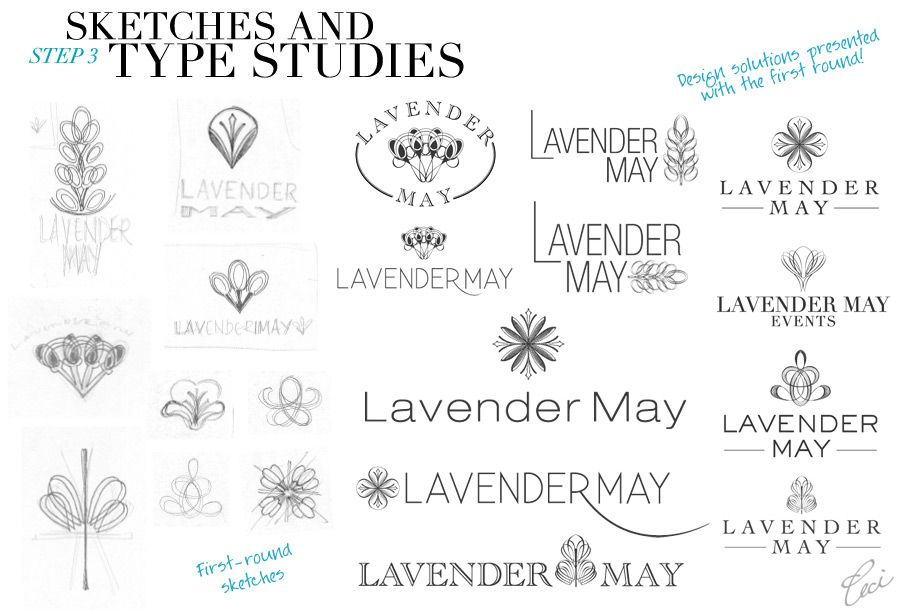 Sketches and type studies - Ceci ID: Creating the Lavender May Logo