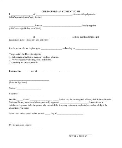 sample legal guardian forms free documents word pdf guardianship